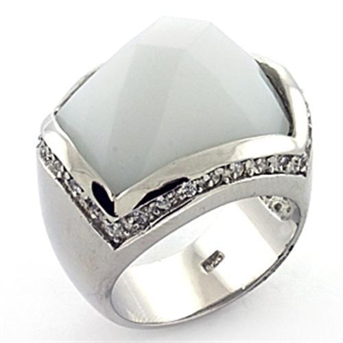LOAS770 Rhodium 925 Sterling Silver Ring with