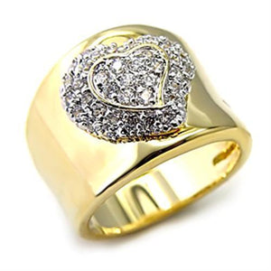 LOAS830 Gold+Rhodium 925 Sterling Silver Ring with