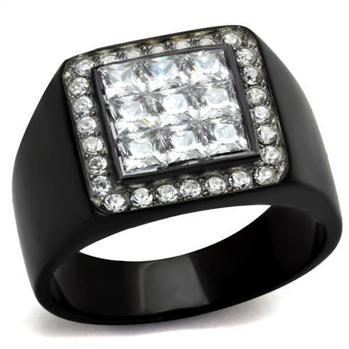 TK2230 Two-Tone IP Black Stainless Steel Ring with