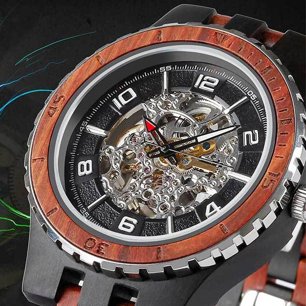 Men's Premium Self-Winding Ebony Rosewood Watch