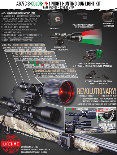 Wicked Lights A67IC 3 Color in 1 Night Hunting Gun Light Kit   #W2021