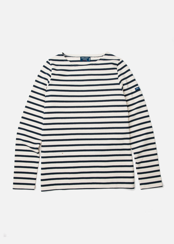 Meridame II Heavy Cotton Long Sleeve in Ecru/Marine