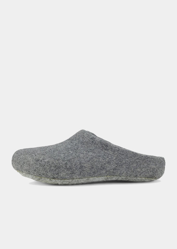 Classic Wool Slippers Low-Back, Gray Womens