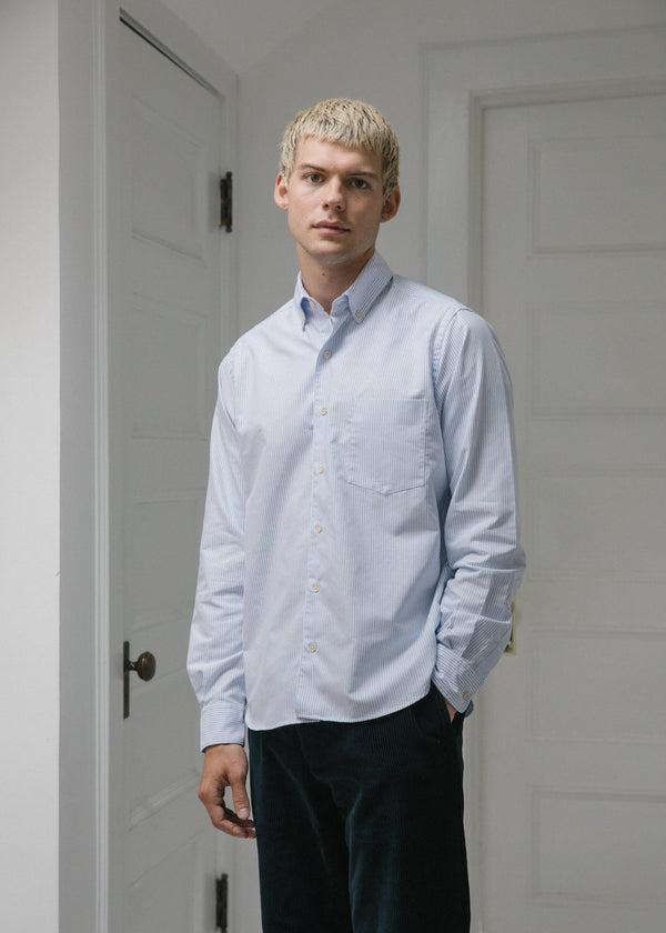 Single Needle Shirt, Blue Oxford Stripe