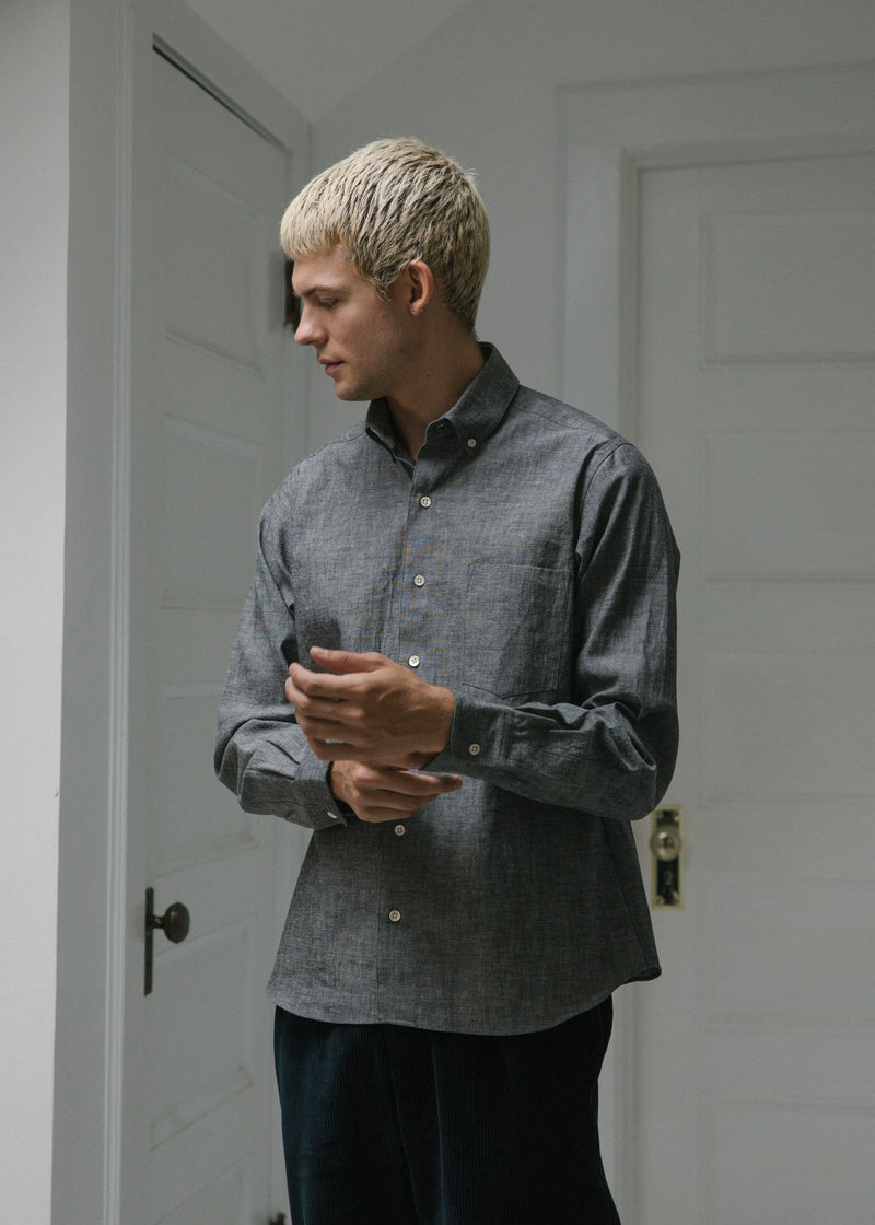 Single Needle Shirt, Black Denim Chambray