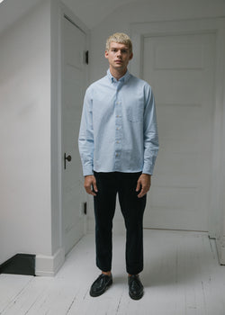 Single Needle Shirt, Light Blue Oxford