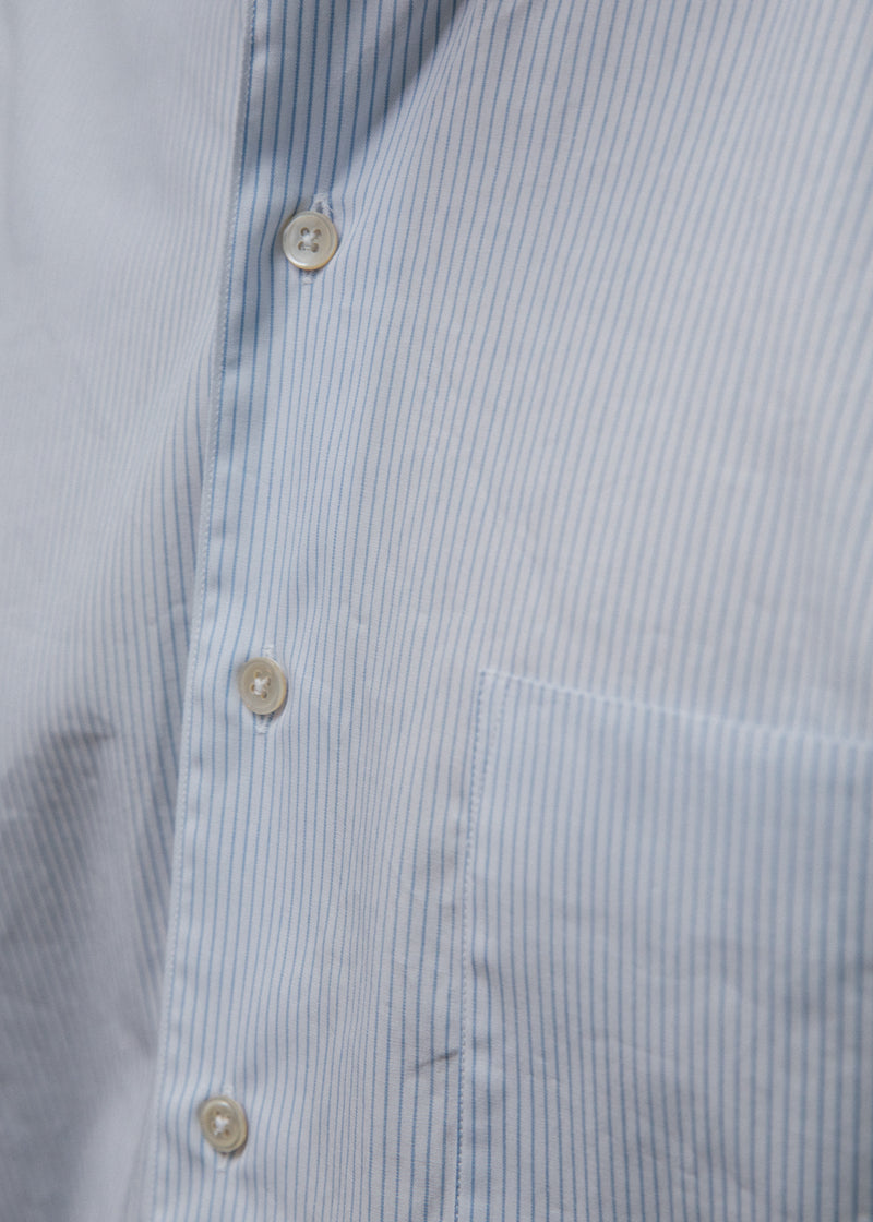 Single Needle Shirt, Blue Pencil Stripe