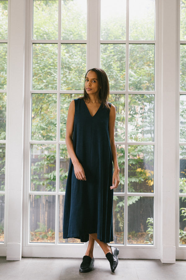 The Fargo Dress, Navy Noil