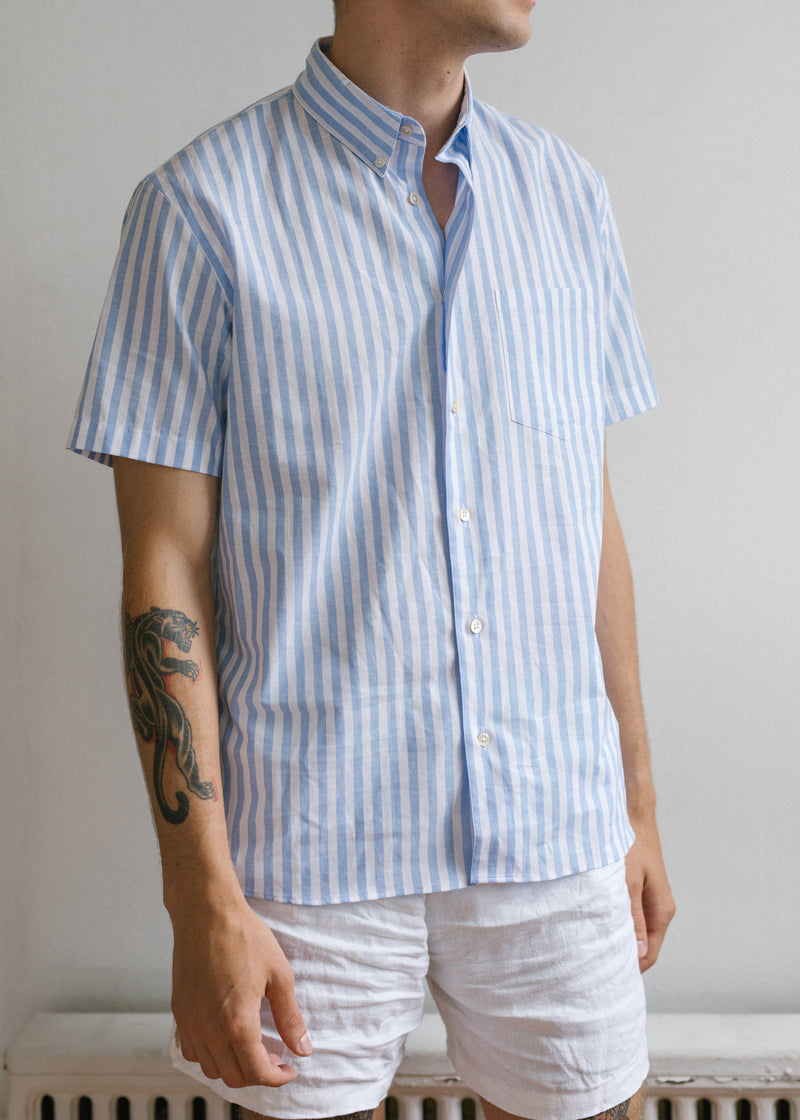 Short Sleeve Single Needle Shirt / Blue Tattersall