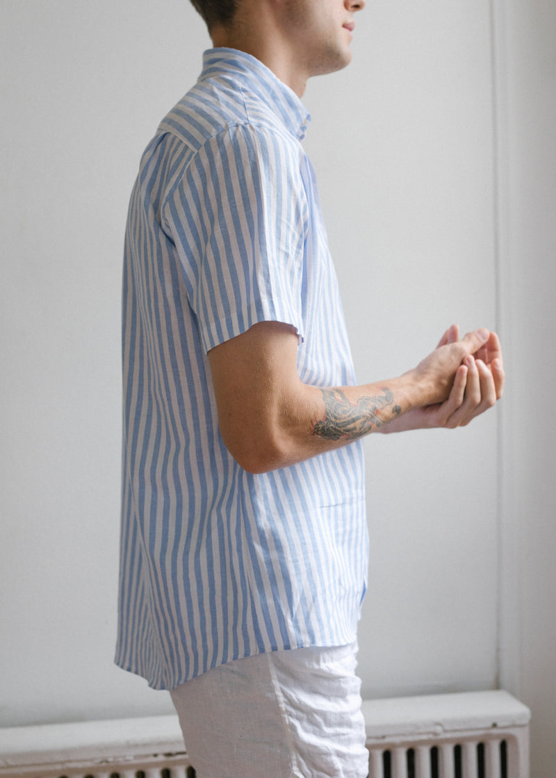 Short Sleeve Single Needle Shirt / Cornflower