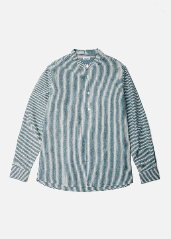 Semi-Hidden Placket Shirt in Blue Stripe