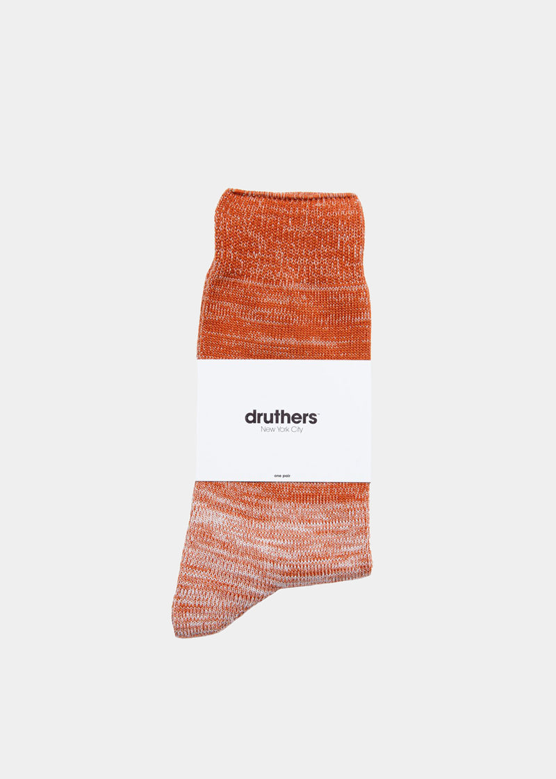 Organic Cotton Gradient Crew Sock - Orange / White