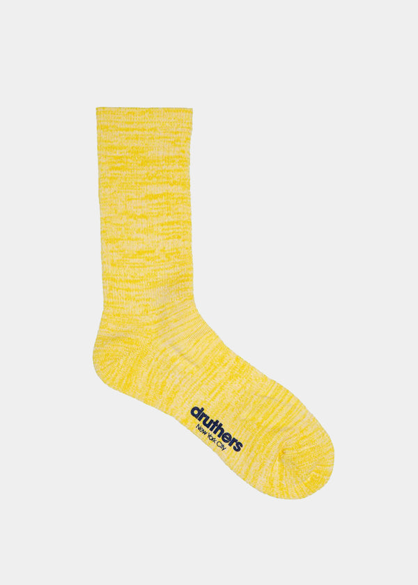 Everyday Organic Cotton Melange Crew Sock - Yellow Mélange