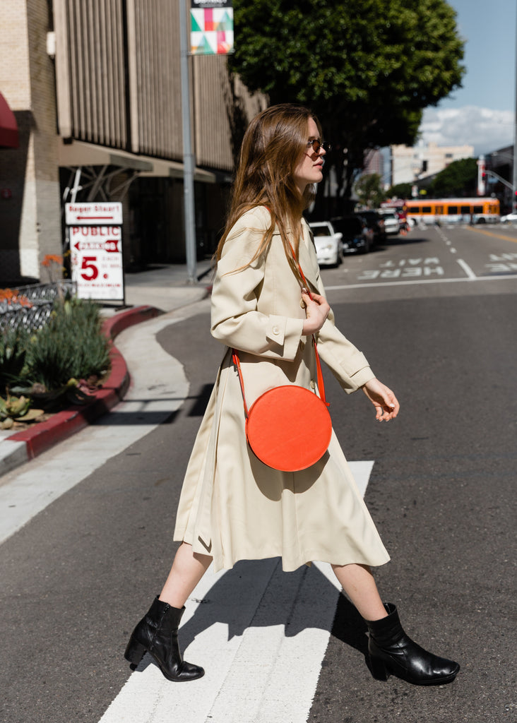 Circle Crossbody Bag in Sunset Nappa