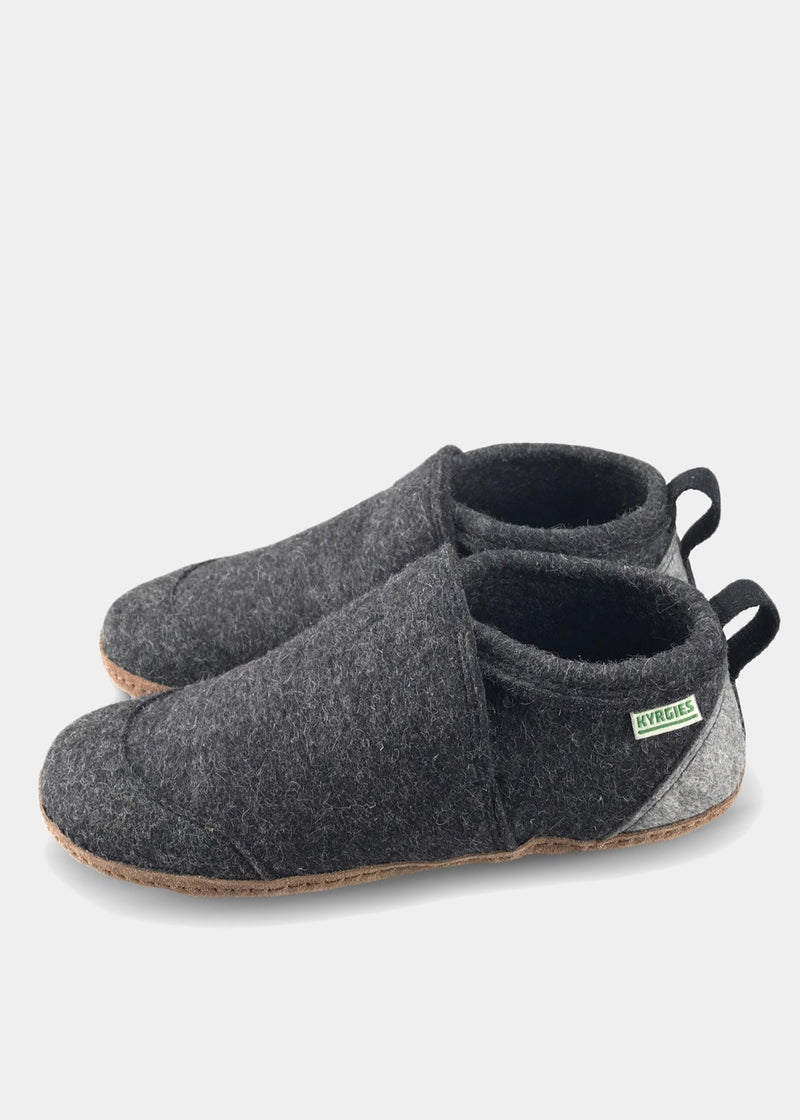 All Natural Tengries House Shoes, Charcoal, Mens