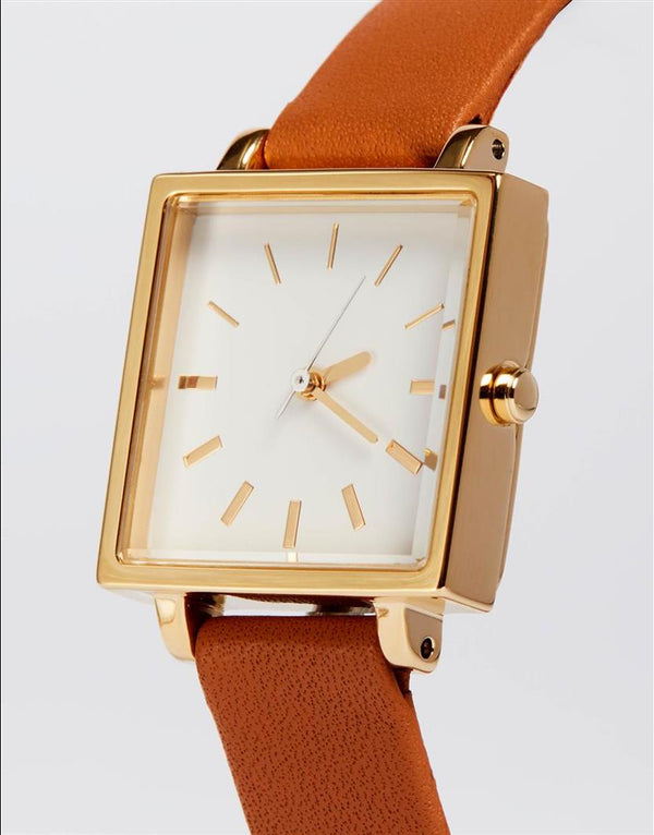Half Day Watch with Brown Strap