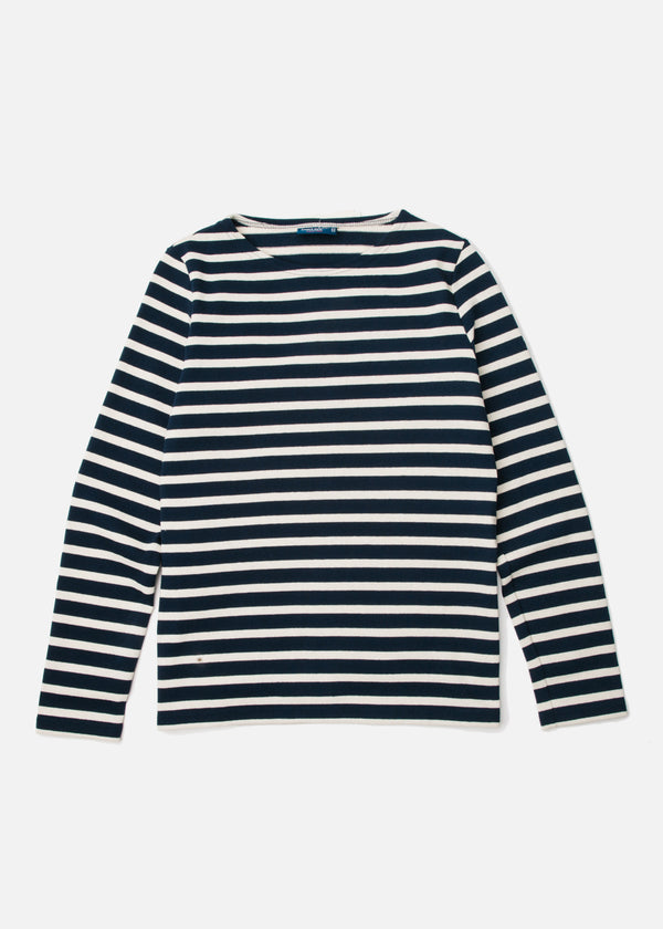 Meridame II Heavy Cotton Long Sleeve in Marine/Ecru