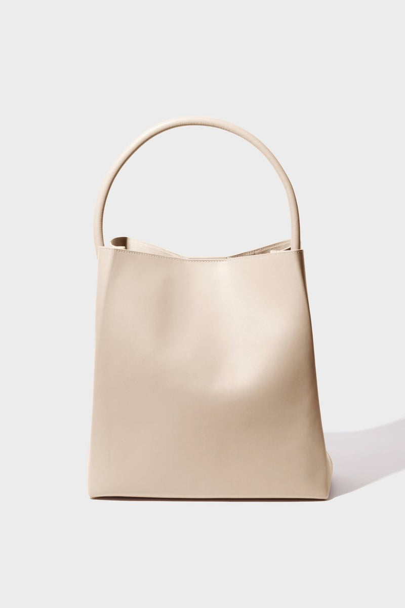 Arch Handle Pleat Tote | Putty
