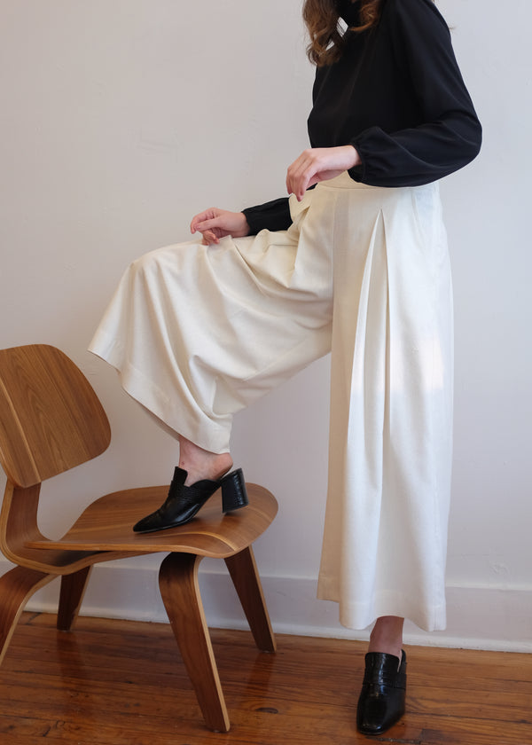 Atley Pleated Culottes in Natural