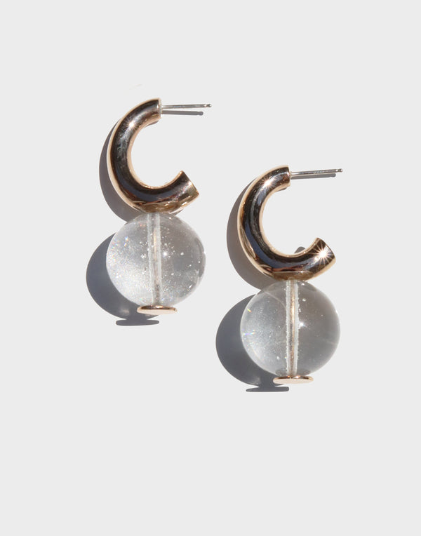 C-Curve Hoop Earrings | Translucent