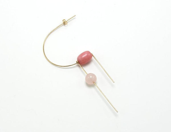 CIRCA EARRINGS / ROSE QUARTZ + RHODO