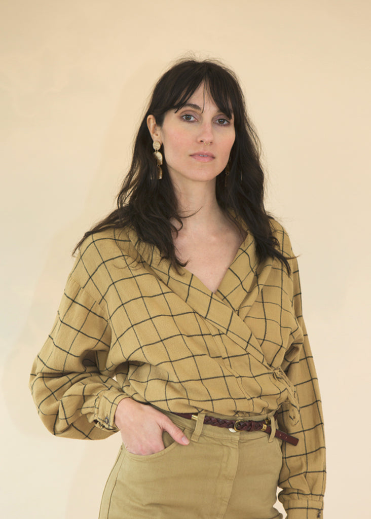 Dharma Check Wrap Blouse in Curry