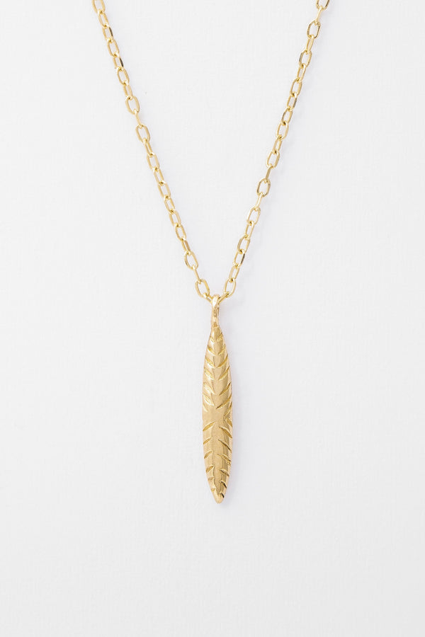 14k Etched Ovate Necklace