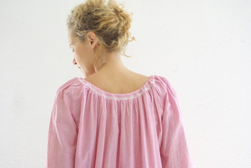 Gathered Nightgown / Micro Stripe