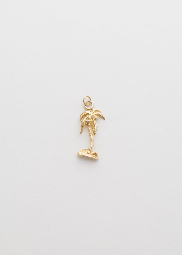 Vintage 14k Yellow Gold Palm Tree Pendant
