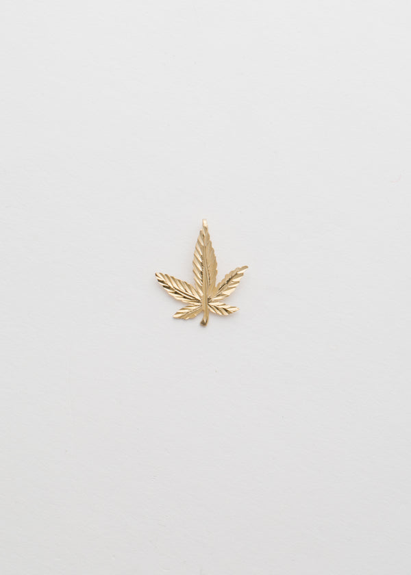 10k Solid Yellow Gold Leaf Pendant