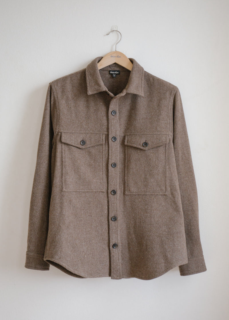 Wool Double Pocket Shirt Jacket, Prairie