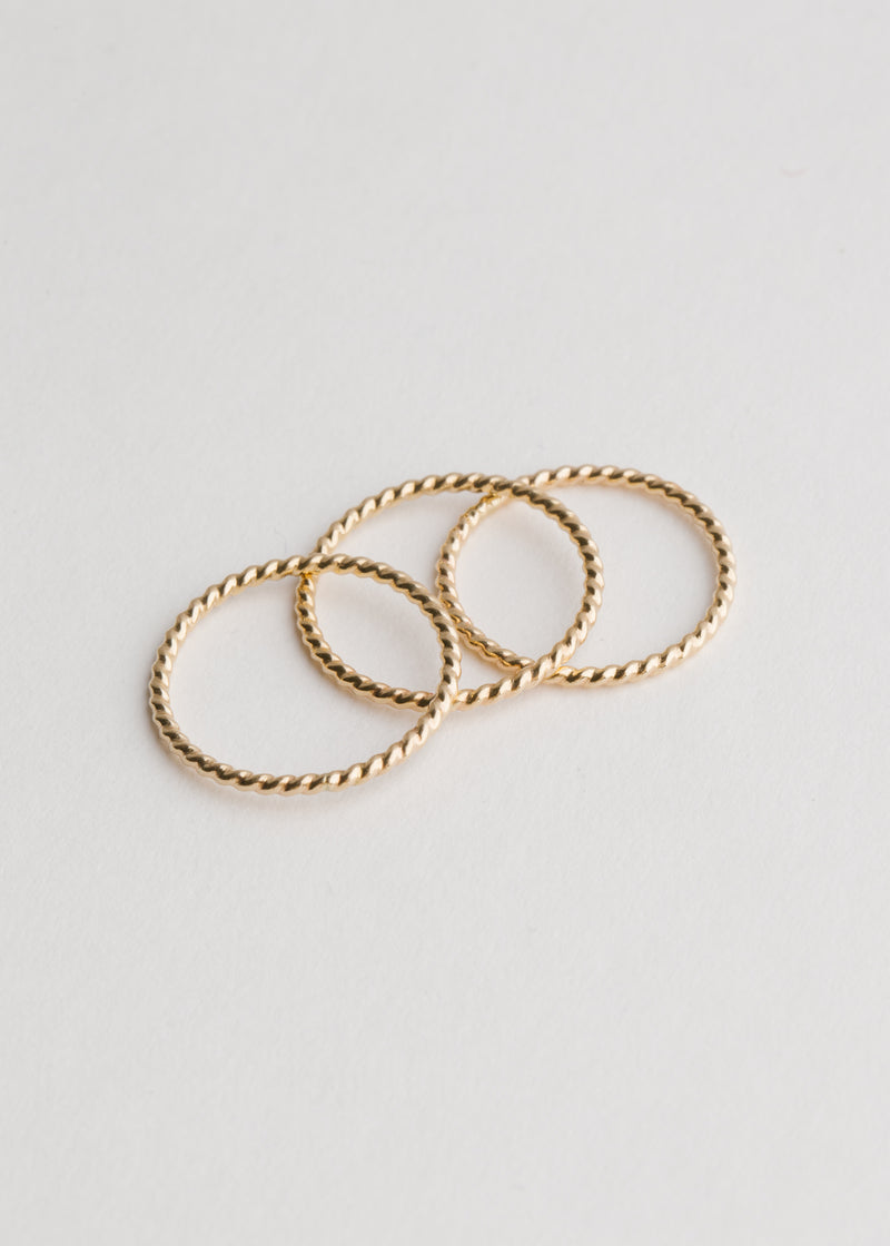 14k Gold Twist Stack Ring