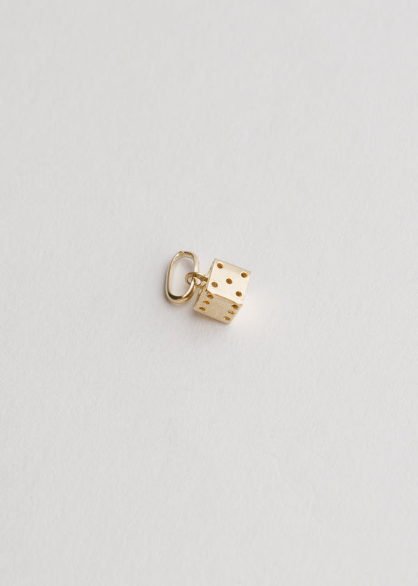 Vintage 14k Yellow Gold Mini Dice Pendant