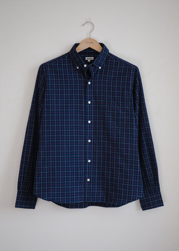 Single Needle Shirt, Blue Check