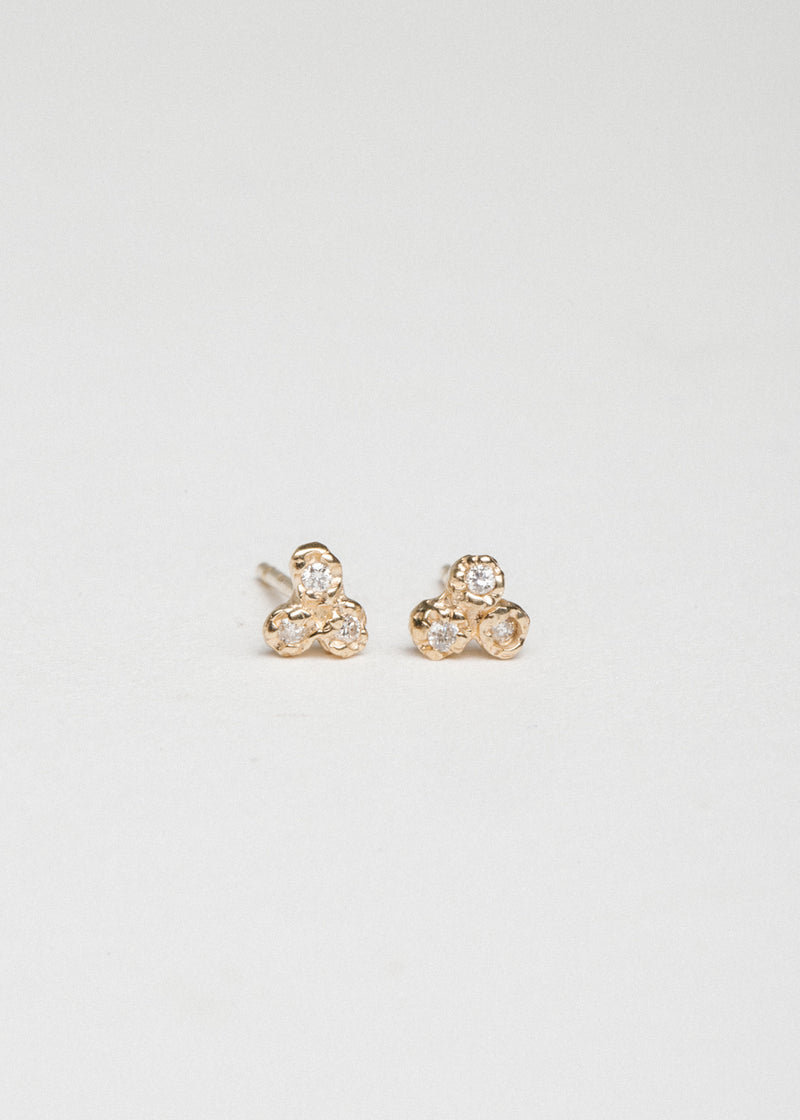 14k Gold 3 Diamond Cluster Studs