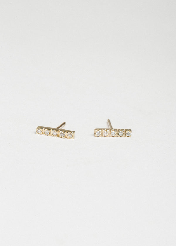 14k Gold 5 Diamond Stick Studs