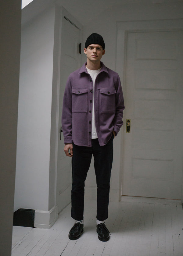 Wool Double Pocket Shirt Jacket, Plum