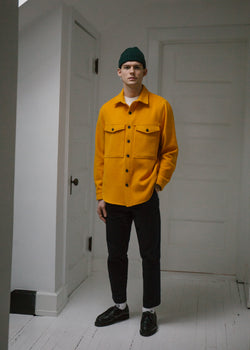 Wool Double Pocket Shirt Jacket, Marigold