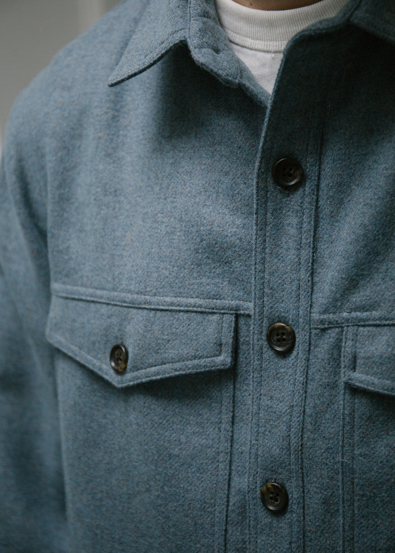 Wool Double Pocket Shirt Jacket, Tumbled Blue