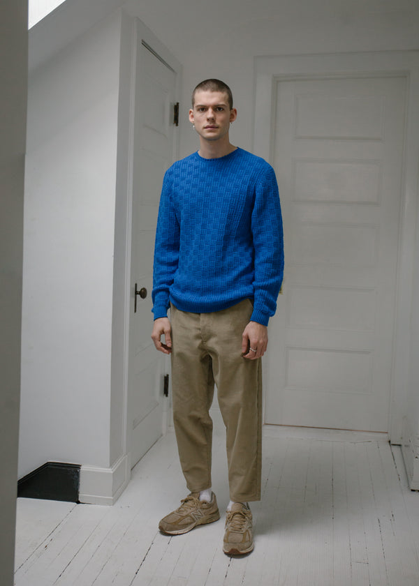 Merino Carlisle Sweater, Bright Blue