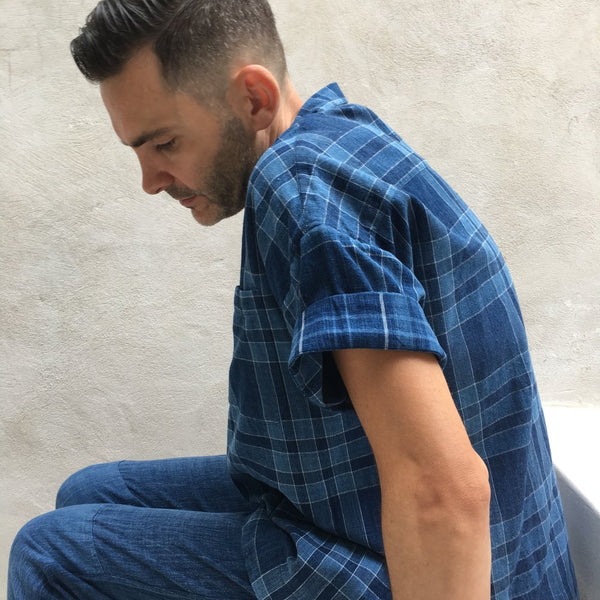Mak Camp Shirt / Dark Indigo Plaids