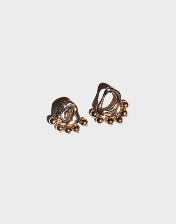 Petite Dancing Gold Bead Earrings
