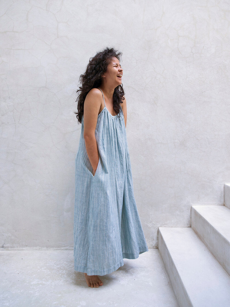 Isa Dress / Handwoven Space Dye Cotton