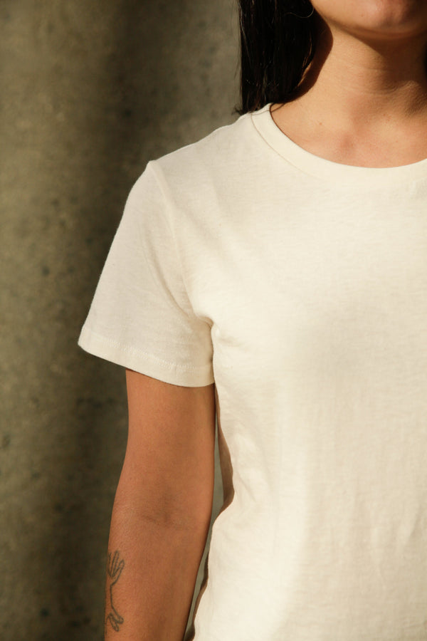 Women's Organic Crew Tee in Natural