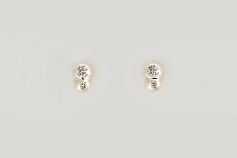 White Diamond Bella Studs / 14k Rose, Yellow, or White Gold