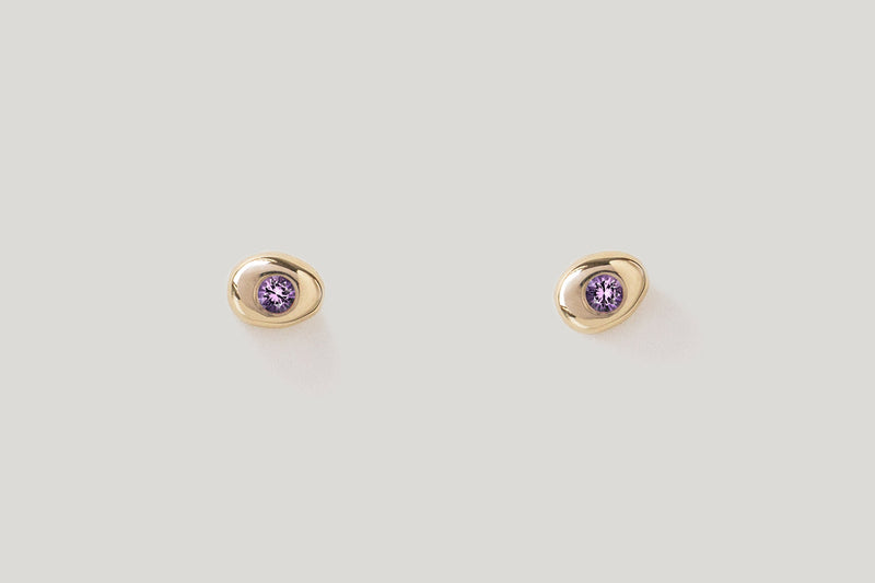 Amethyst Pebble Studs / 14k Yellow, White, or Rose Gold