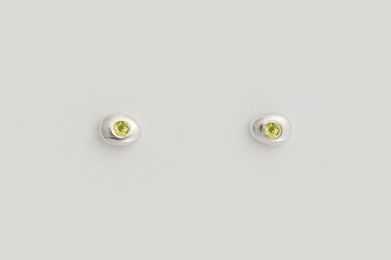 Peridot Pebble Studs / 14k Yellow, White, or Rose Gold