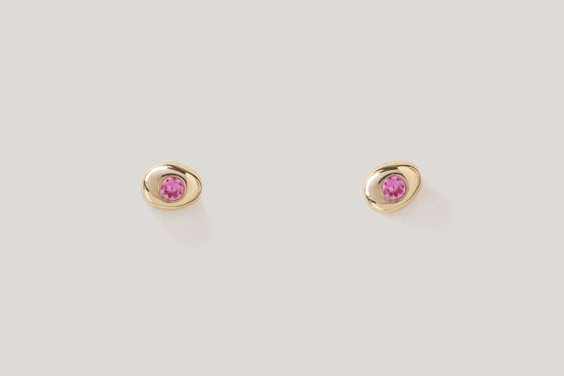 Pink Sapphire Pebble Studs / 14k Yellow, White, or Rose Gold