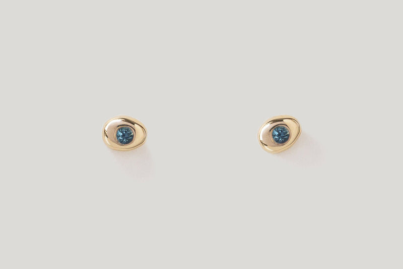 Teal Sapphire Pebble Studs / 14k Yellow, White, or Rose Gold