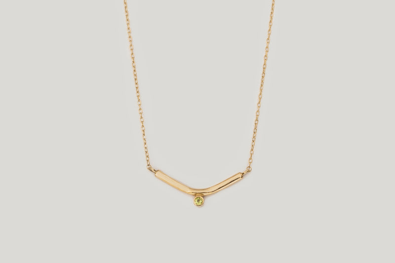 Peridot Vestra Necklace / 14k Yellow, White, and Rose Gold